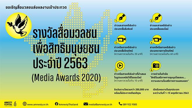 """รางวัลสื่อมวลชนเพื่อสิทธิมนุษยชน"""" ประจำปี 2563 (Media Awards 2020)"""